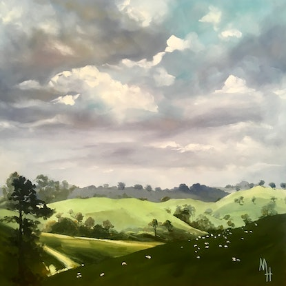 (CreativeWork) Looking for Hobbits Two by Meredith Howse. Oil Paint. Shop online at Bluethumb.