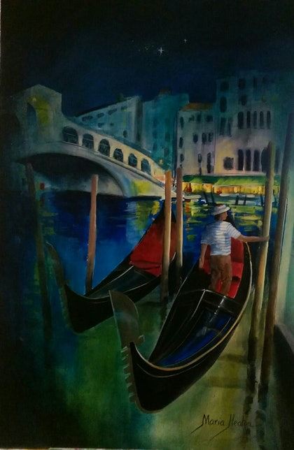 (CreativeWork) Venice at night  by Maria Heaton. arcylic-painting. Shop online at Bluethumb.