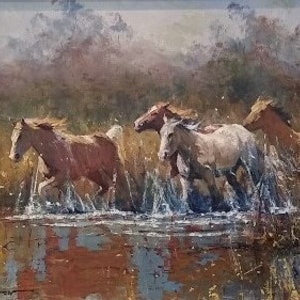 (CreativeWork) 'Through The Marshes' by Robert Hagan. oil-painting. Shop online at Bluethumb.