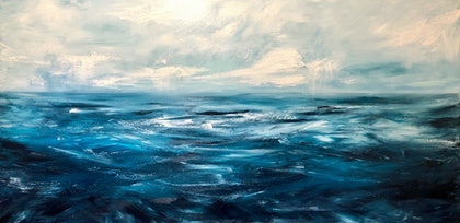 (CreativeWork) VIVID SEA (large scale 1.8m wide)   by Kat Las. arcylic-painting. Shop online at Bluethumb.