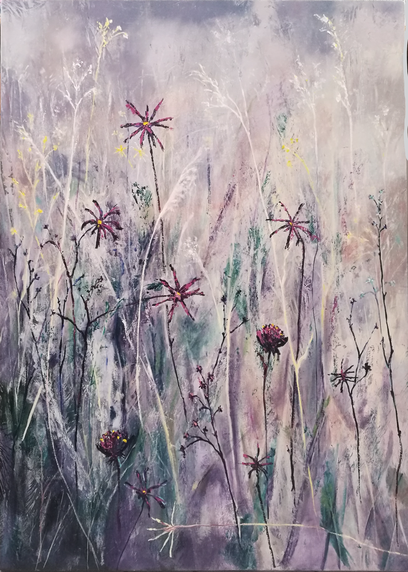 (CreativeWork) The Summer Grass Meadow by Lucinda Leveille. oil-painting. Shop online at Bluethumb.