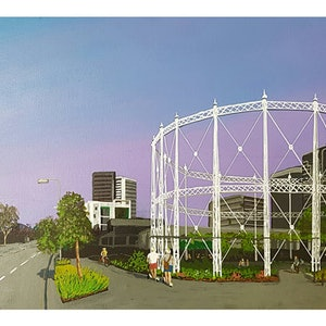 (CreativeWork) The Gasworks by Paul Drought. acrylic-painting. Shop online at Bluethumb.