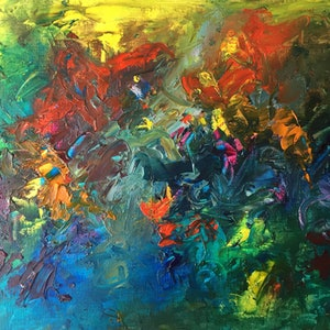 (CreativeWork) Rainforest by Tracey-Ann Morris. oil-painting. Shop online at Bluethumb.