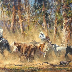(CreativeWork) 'BATTLE LINE!' by Robert Hagan. oil-painting. Shop online at Bluethumb.