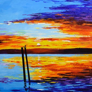 (CreativeWork) Swansea sunset , nsw by Graham Gercken. oil-painting. Shop online at Bluethumb.