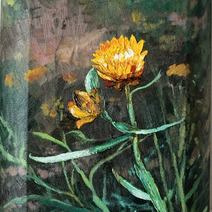 (CreativeWork) XERCHRYSUM BRACTEATUM#2-Paper Daisy by Margaret HADFIELD. oil-painting. Shop online at Bluethumb.