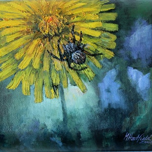 (CreativeWork) MICROSERIS AND SPIDER by Margaret HADFIELD. oil-painting. Shop online at Bluethumb.