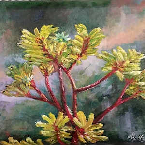 (CreativeWork) ANIGOZANTHOS-Kangaroo Paw by Margaret HADFIELD. oil-painting. Shop online at Bluethumb.