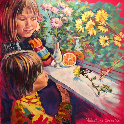 (CreativeWork) Spring on the window sill by Valentyna Crane. Acrylic. Shop online at Bluethumb.