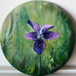 (CreativeWork) VIOLA BETONICIFOLIA by Margaret HADFIELD. oil-painting. Shop online at Bluethumb.