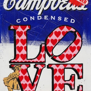 (CreativeWork) New Condensed Love HUGE 140cm x 100cm Campbell's Soup Love urban pop art blue texture  by _Franko _. mixed-media. Shop online at Bluethumb.