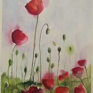 (CreativeWork) Poppies I by Lucinda Leveille. watercolour. Shop online at Bluethumb.