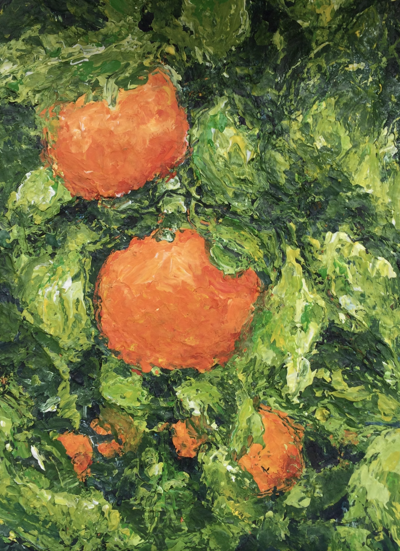 (CreativeWork) Oranges  by Jules Baldwin. arcylic-painting. Shop online at Bluethumb.