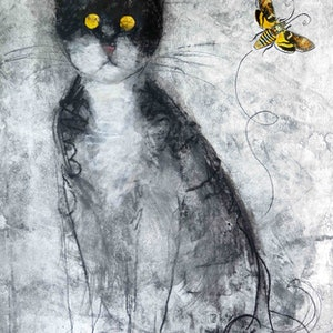 (CreativeWork) The Cat and the Moth  by John Graham. mixed-media. Shop online at Bluethumb.
