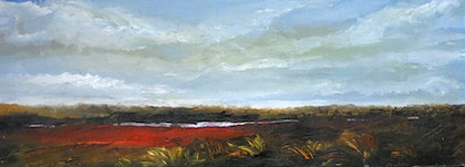 (CreativeWork) Winter landscape (red road) by John Graham. oil-painting. Shop online at Bluethumb.