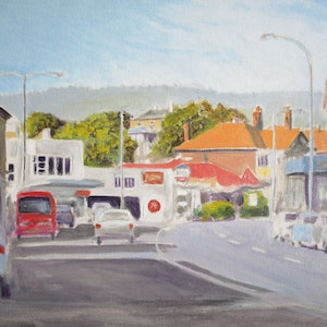(CreativeWork) Sandy Bay Road, Battery Point by Michael Bessell. oil-painting. Shop online at Bluethumb.