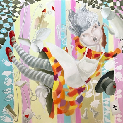 (CreativeWork) Free fall to wonderland by Yelena Revis. oil-painting. Shop online at Bluethumb.