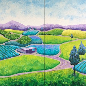 (CreativeWork) Where The Sun Shines (diptych) by Diane McDonald. arcylic-painting. Shop online at Bluethumb.