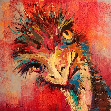 (CreativeWork) Emu 11 by Jos Coufreur. arcylic-painting. Shop online at Bluethumb.
