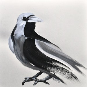 (CreativeWork) Bird Black and White Study 1 by Rebecca Hill. mixed-media. Shop online at Bluethumb.
