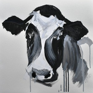 (CreativeWork) Cow Black and White Study 1   by Rebecca Hill. mixed-media. Shop online at Bluethumb.