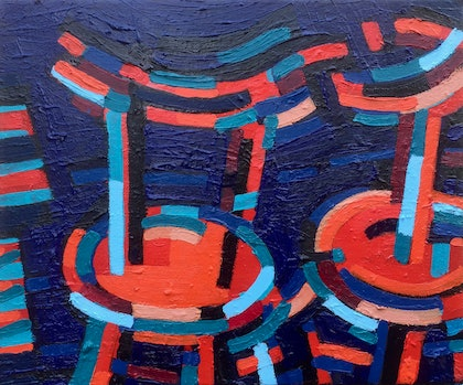 (CreativeWork) Cafe Chairs by D.M. (David Martin) Ross. oil-painting. Shop online at Bluethumb.