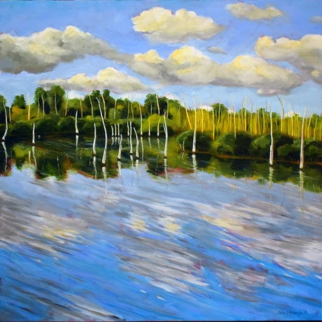 (CreativeWork) Lake by Julie McKenzie. Acrylic Paint. Shop online at Bluethumb.
