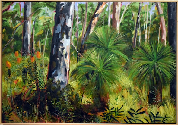 (CreativeWork) Taloumbi Grass Trees by Julie McKenzie. Acrylic Paint. Shop online at Bluethumb.