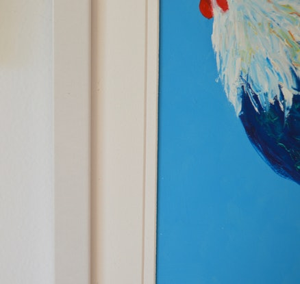 (CreativeWork) Rooster on Blue - FRAMED by Jan Matson. Oil Paint. Shop online at Bluethumb.