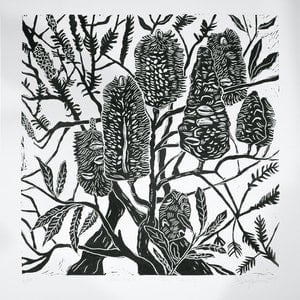 (CreativeWork) Banksia and Tea Tree lino cut print Ed. 2 of 20 by Matthew Broughton. print. Shop online at Bluethumb.