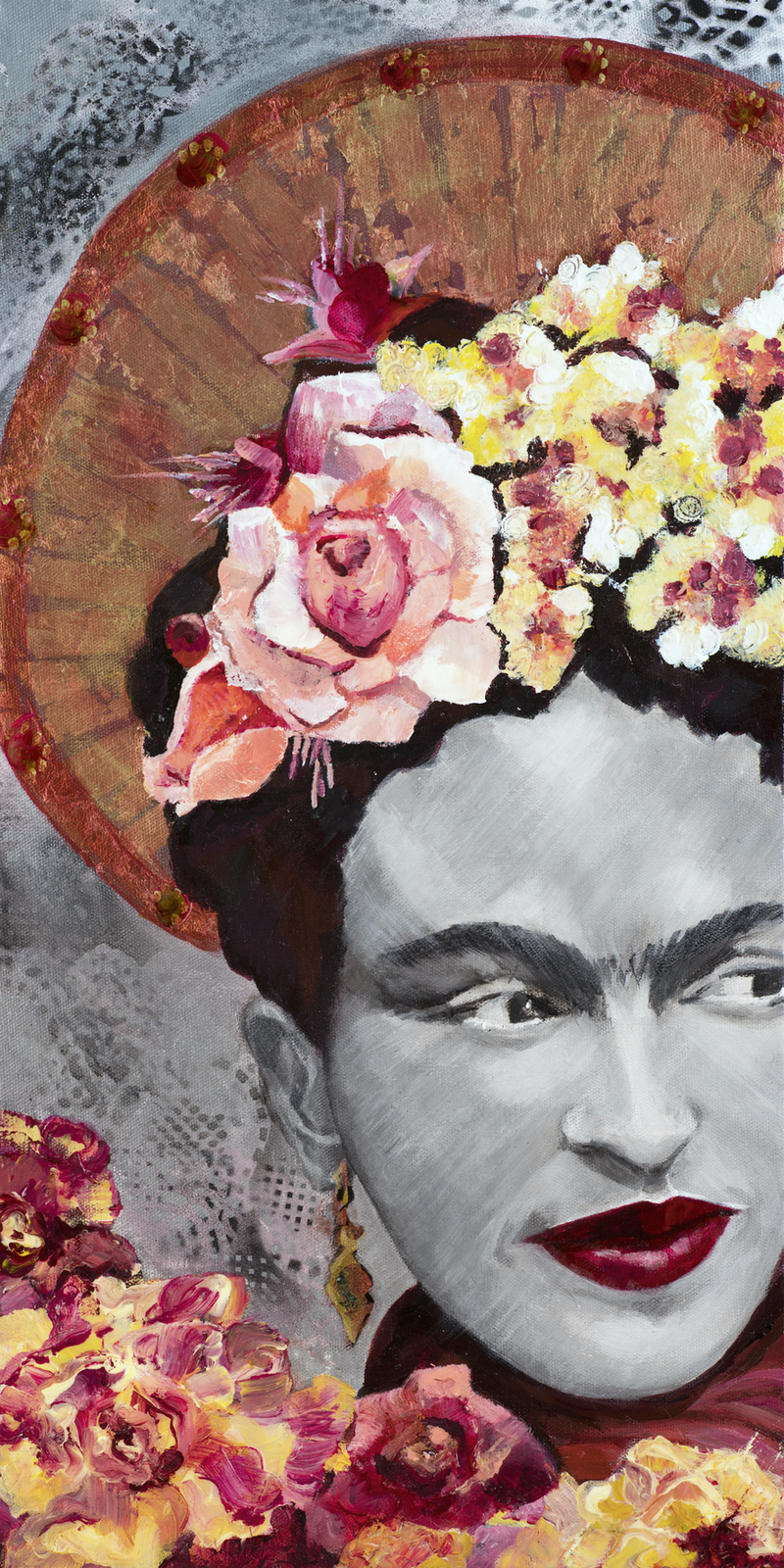 (CreativeWork) St Frida des Fleurs - Limited edition reproduction on 400gsm Cotton Canvas on frame  - hand signed Ed. 2 of 100 by Debra Joyce. print. Shop online at Bluethumb.