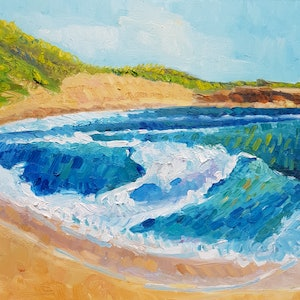 (CreativeWork) Blairgowrie Ocean Beach  by Timothy Dell. oil-painting. Shop online at Bluethumb.