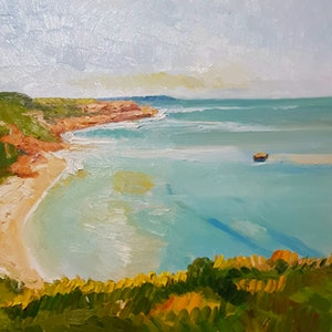 (CreativeWork) Ocean Beach near Sorrento. by Timothy Dell. oil-painting. Shop online at Bluethumb.