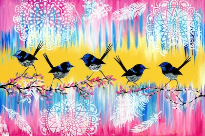 (CreativeWork) Happy Art by Cathy Jacobs. arcylic-painting. Shop online at Bluethumb.