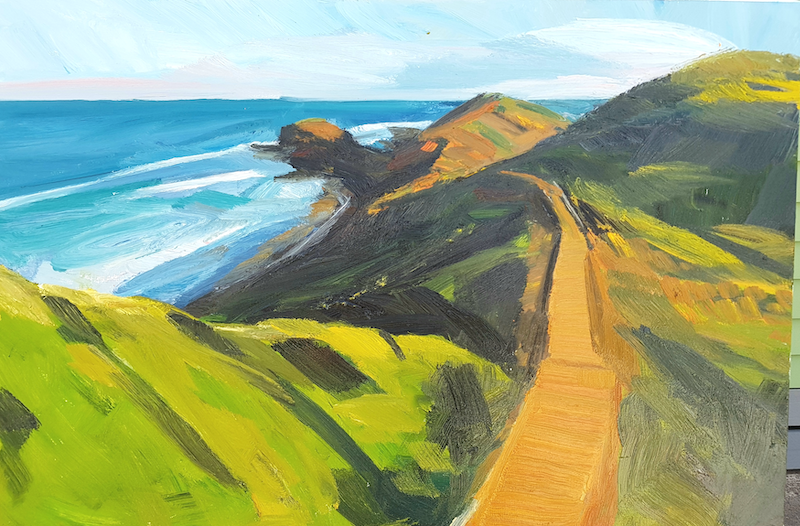 (CreativeWork) Cape Schanck #2 by Timothy Dell. oil-painting. Shop online at Bluethumb.
