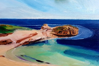 (CreativeWork) Diamond Bay. Victoria  by Timothy Dell. oil-painting. Shop online at Bluethumb.