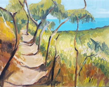 (CreativeWork) View from Mt. Martha by Timothy Dell. oil-painting. Shop online at Bluethumb.