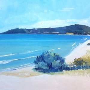 (CreativeWork) View of Mt Martha from Dromana Beach  by Timothy Dell. oil-painting. Shop online at Bluethumb.