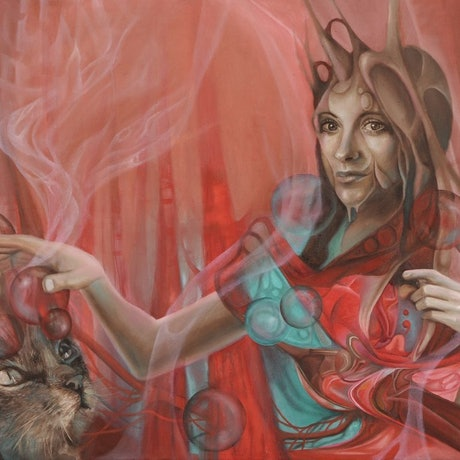 """(CreativeWork) """"Love Dance of the Unified Field"""" Surreal portrait of a lady with a cat  Ed. 3 of 20 by Bonny Hut. Print. Shop online at Bluethumb."""