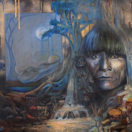 """(CreativeWork) """"The Rainmaker""""  Photographic print of an original ( surreal landscape & American Indian portrait ) oil painting.  Ed. 3 of 100 by Bonny Hut. Print. Shop online at Bluethumb."""