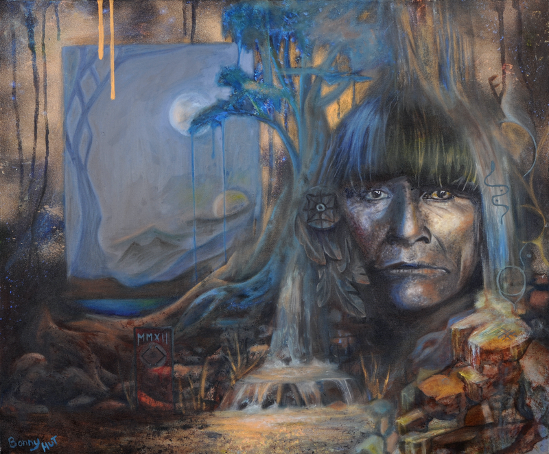 "(CreativeWork) ""The Rainmaker""  Photographic print of an original ( surreal landscape & American Indian portrait ) oil painting.  Ed. 3 of 100 by Bonny Hut. Print. Shop online at Bluethumb."