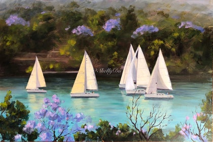 (CreativeWork) Sailing  by Shelly Du. arcylic-painting. Shop online at Bluethumb.