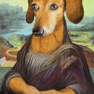 (CreativeWork) The Wiener Lisa by Michael Bessell. acrylic-painting. Shop online at Bluethumb.