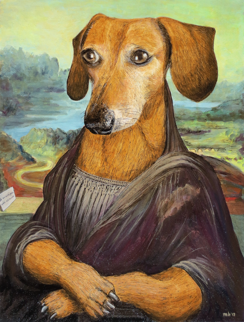 (CreativeWork) The Wiener Lisa by Michael Bessell. Acrylic Paint. Shop online at Bluethumb.