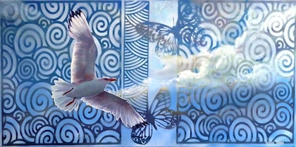(CreativeWork) Above the Clouds by Susan Skuse. oil-painting. Shop online at Bluethumb.