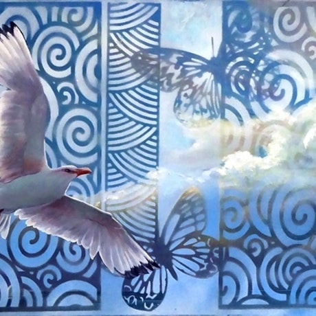 (CreativeWork) Above the Clouds by Susan Skuse. Oil. Shop online at Bluethumb.