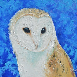 (CreativeWork) Barn Owl by Jan Matson. oil-painting. Shop online at Bluethumb.