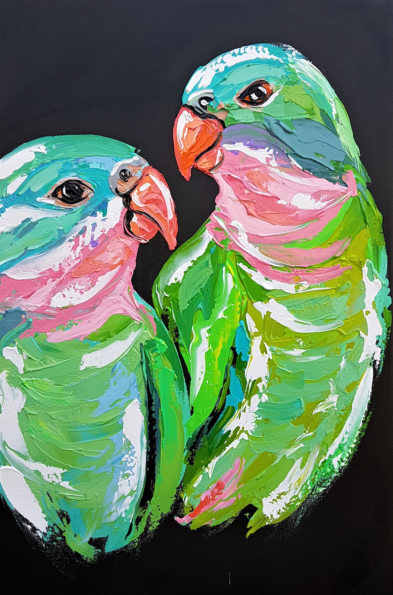 (CreativeWork) Princess Parrots  by Lisa Fahey. arcylic-painting. Shop online at Bluethumb.