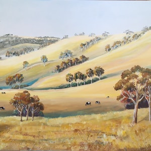 (CreativeWork) Kiewa valley by Ron Brown. arcylic-painting. Shop online at Bluethumb.