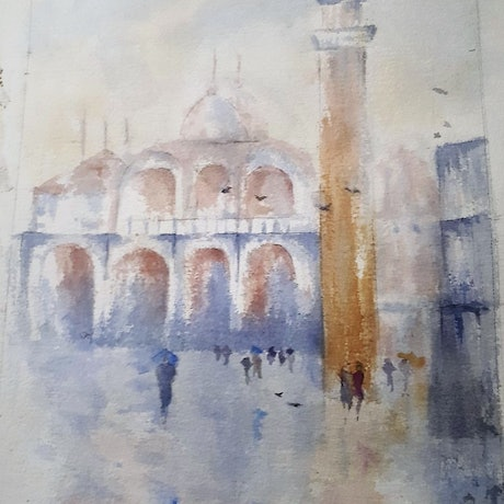 (CreativeWork) St Marco Square, Venice. Italy by Jennifer Price. Watercolour Paint. Shop online at Bluethumb.
